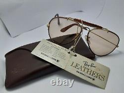 Vintage B&l Ray Ban Leathers Changeable États-unis Un Aviateur Plaqué Or Lunettes De Soleil