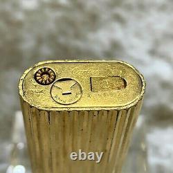 Vintage Cartier Essence Lighter 18k Corps Plaqué Or Avec 1p Diamond Godron Pas De Boîte