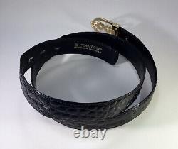 Vintage Cartier Genuine Crocodile Mens Belt Gold Plated Buckle Noir 36