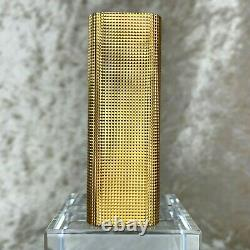 Vintage Cartier Lighter 18k Gold Plated Body Checkered Texture Authentic No Box