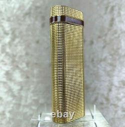 Vintage Cartier Lighter 18k Plaqué Or Pave Coupe Texture Bordeaux Anneau Avec Pas De Boîte