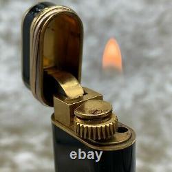 Vintage Cartier Lighter Black Laquer Trinity Accents Plaqués Or 18k Sans Boîtier
