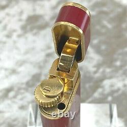 Vintage Cartier Lighter Bordeaux Lacquer Oval 18k Plaqué Or Accents Pas De Boîte