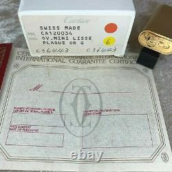 Vintage Cartier Lighter Court Smooth 18k Or Plaqué Finition Ovale Avec Boîtier Et Papiers