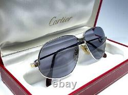 Vintage Cartier Panthere 56 Petites Lunettes De Soleil Plaquées Plates France 18k
