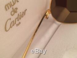 Vintage Cartier Panthere 59mm 14 Lunettes De Soleil Moyennes France En Plaqué Or Lourd De 18 Carats