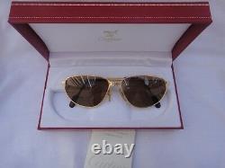 Vintage Cartier Panthere Windsor 55mm Cat Eye Lunettes De Soleil France 18k Heavy Plaqué