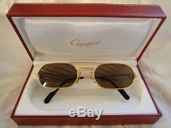 Vintage Cartier Vendôme Or 53mm Lunettes De Soleil Must Elton John France Dur Plaqué
