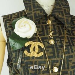 Vintage Chanel XL Jumbo Tissé Plaqué Or Rare Broche Nfv6312