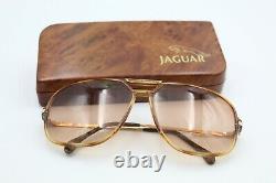 Vintage Gents Jaguar Style Pilot Lunettes De Soleil De Cadre Plaqué Or 751-653-135 & Boîtier