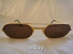 Vintage Lunettes De Soleil 53mm Vendome Must Gold Par Cartier Elton John France