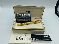 Vintage Montblanc 146 Stylo Fontaine D'orge Tout Plaqué Or 18k Med Nib Nos Nouveau