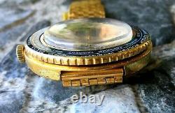 Vintage Raketa Ussr 70s Time Zones Cal. 2628. H Montre-bracelet Pilote Gold Plaqué