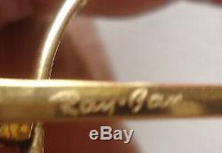 Vintage Ray-ban B & L Le Général 50 Épais Bravura Plaqué Or Cadre Aviator Grand