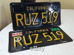 Vintage Set'63 California Black Plates Plaques D'immatriculation En Métal Noir Et Or
