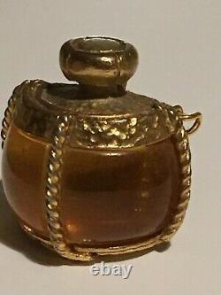Vintage Ysl Yves Saint Laurent Bouteille De Parfum Or Plaqué Broche