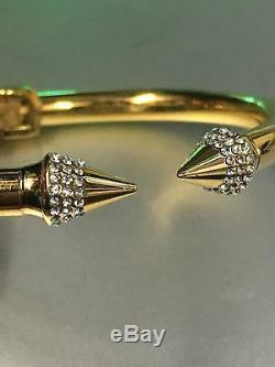 Vita Fede Jaune Plaqué Or Métal Mini Titan Cristal Bracelet M Hinged