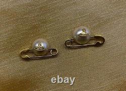 Vivienne Westwood Jordan Mayfair Gold Plaqué Métal Orb Pearl Safety Pin Boucles D'oreilles