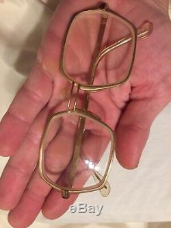 Vtg Rare Made In Italy Plaqué Or 18k 50/18 50 60 De Son Glass Eye Frames Film