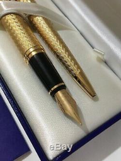 Waterman L'etalon Plaqué Or 18k Gt Medium Fountain Pen & Stylo-boxed-nos