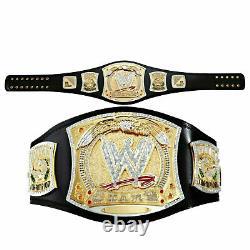 Wwe Championship Spinner Title Belt Gold Metal Brass Plated Belt Leather Strap